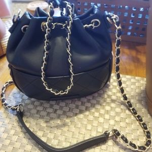 Cute Black Drawstring Crossbody Bag
